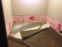 Flooding due to seepage required this basement to have the bottom two feet of drywall, insulation, mouldings, flooring, and paint to be replaced.