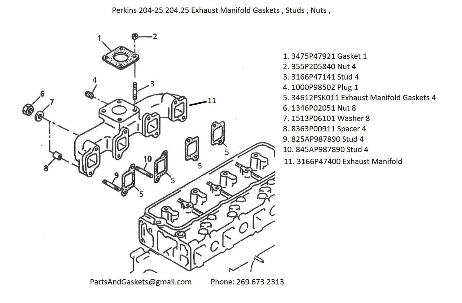 Perkins 204-25 204.25 Exhaust Manifold Gaskets , Studs
