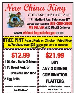 New China King Chinese Restaurant Patchogue Coupons