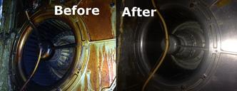 pic of before and after cleaning of extract fan