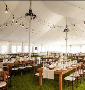 Sailcloth tents with rustic stying for Boca Grande weddings