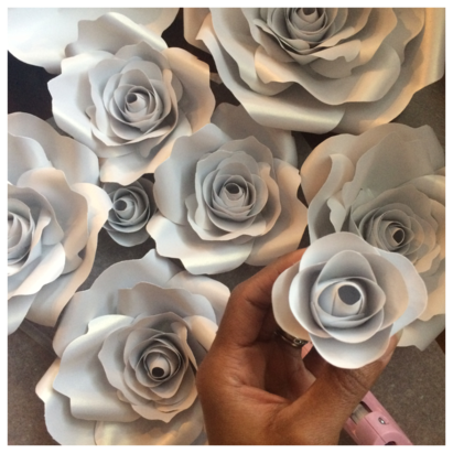 White Paper Flowers for Babyshowers and Weddings, Paper Roses by LaDi with a BaBy