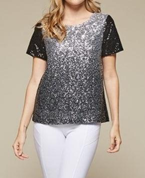 Black Silver Ombre Sequin Top