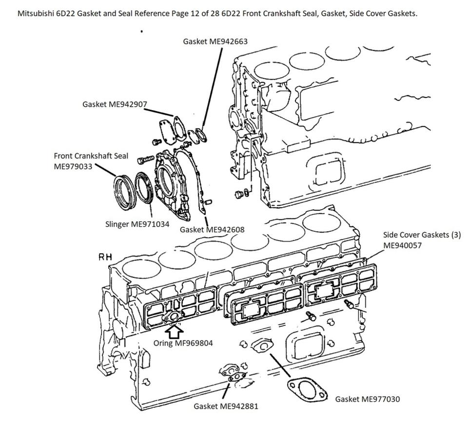 Mitsubishi 6D22 Gasket and Seal Reference Page 12 of 28