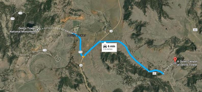 Google, Maps, Devils Tower, Wyoming, Bed and Breakfast, Crook County