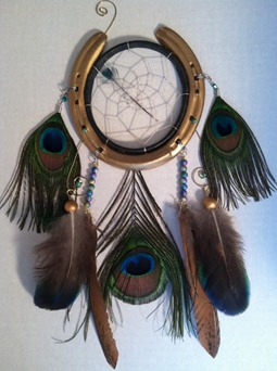 dream catcher,equine gifts, horse shoe, peacock