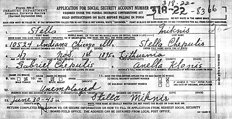 Form Ss Application For Social Security Account Number