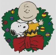 Cross Stitch Chart of Charlie Brown and Snoopy in Christmas Wreath