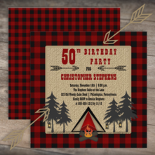 rustic buffalo checks and burlap look camping tent and campfire birthday party for him