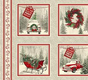 Red Truck Fabric Holiday Traditions Panel