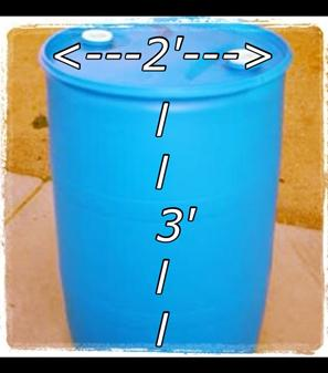 55 gallon blue plastic barrel