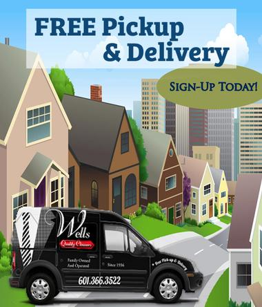 WELLS CLEANERS FREE PICKUP AND DELIVERY