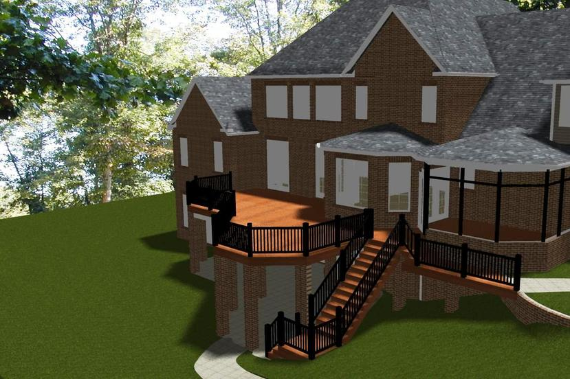 Computer aided design showing the proposed screened porch and deck addition
