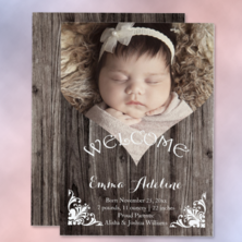 rustic faux wood heart shaped cutout photo portrait template baby girl birth announcement