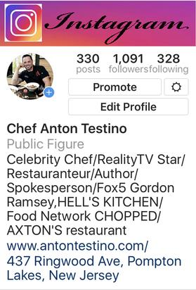Chef Anton Testino Celebrity Chef/RealityTV Star/Restauranteur/Author/Spokesperson/Fox5 Gordon Ramsey,HELL'S KITCHEN/Food Network CHOPPED/AXTON'S restaurant