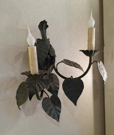 antique vintage metal distressed french pastoral wall mount sconce 2 arm old world classic design leaves hand made beeswax candle covers sleeves