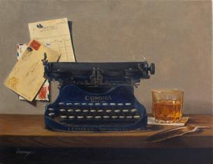 typewriter, original painting, trompe l'oeil art