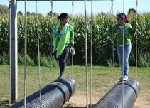 Picture of girls walking on swinging black tubes in Maze Park