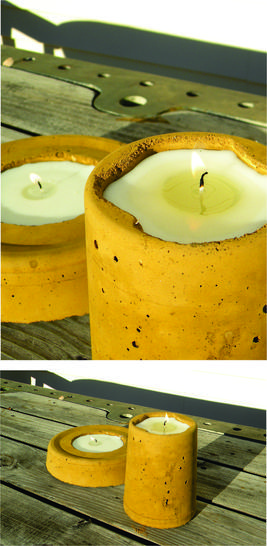 How to make easy DIY Cement candle holder. Great craft for backyard and outdoor living. www.DIYeasycrafts.com