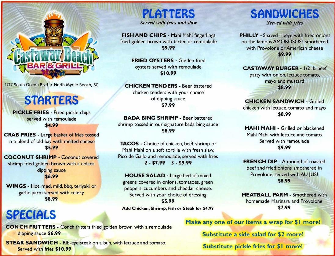 South Beach Bar And Grill Menu
