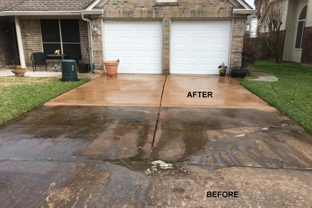 Driveway Pressure Washing in Cypress, Texas.