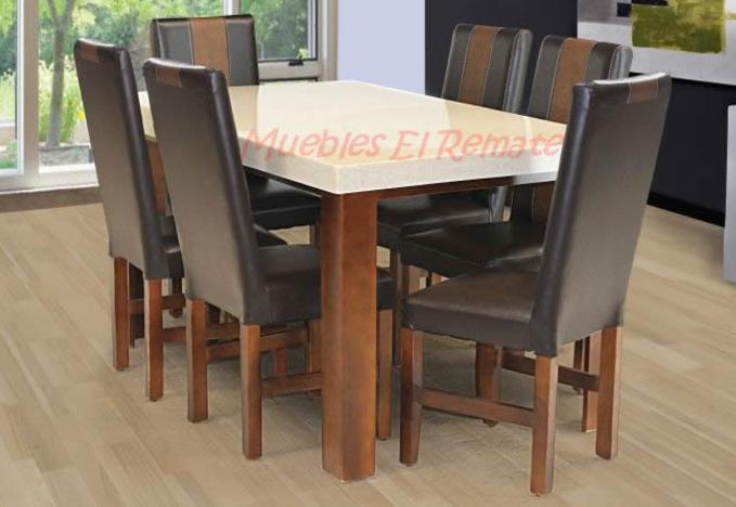 Mesa en granito procesado 6 personas venta solo en mty for Muebles baratos remate