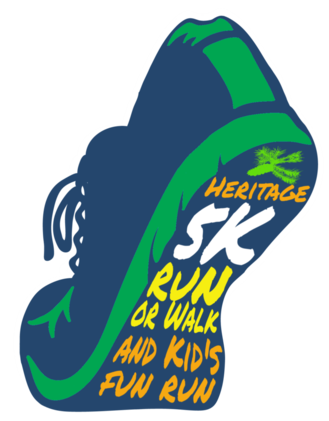 A Shoe with the words Heritage 5K Run or Walk and Kid's Fun Run.