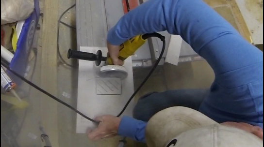 How to cut Hardiebacker cement board with a disc grinder. www.DIYeasycrafts.com