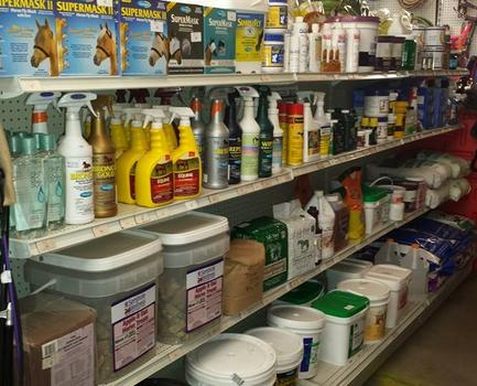 a picture of our horse aisle, fly masks, fly sprays, supplements, remedies and wound care