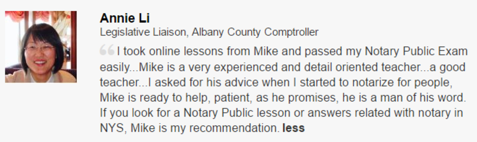 Notary Class On-line Course Testimonial