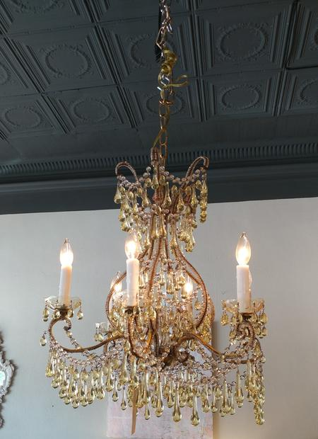 citroine citron crystal glass 6 armed antique chandelier