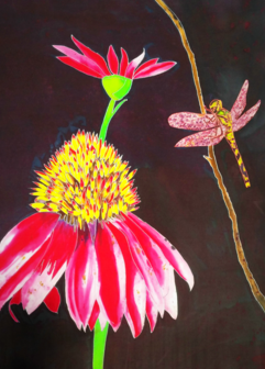 Dragonfly, Silk Painter Tracy Harris, San Diego, Gutta, Water Based Resist, Silk Painting Gallery