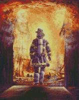 Cross Stitch Chart of Firefighter stepping into the inferno