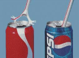 Cross Stitch Chart Pattern of Straw Refusing Coke Can