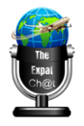 globe on a microphone , link to the the expat podcast website