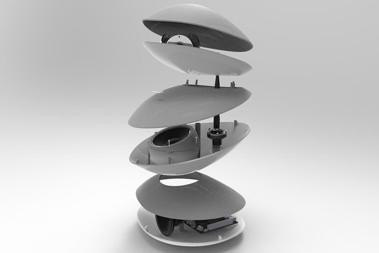 speaker blowup industrial design concept solidworks render