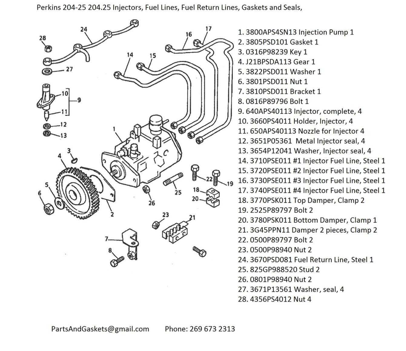 Perkins 204-25 204.25 Injectors, Fuel Lines, Fuel Return Lines, Gaskets and  Seals,Perkins 204.25 Engine Parts
