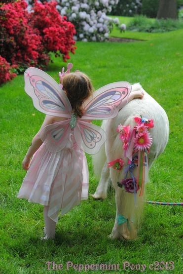 farewell shot - rear view of pink fairy child leaning on Easter Lily the decorated mini horse for The Peppermint Pony