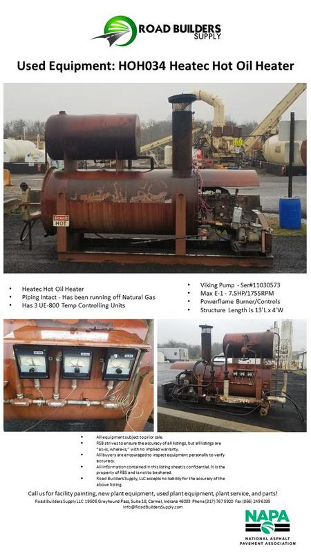 Heatec Hot Oil Heater for Asphalt Plant AC Tanks