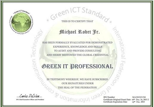 Green ICT Standard IFGICT, Green IT Professional, Green IT ...