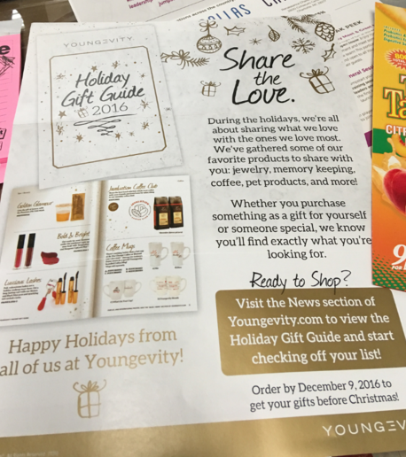 Whether you purchase something as a gift for yourself or someone special, we know you'll find exactly what you're looking for. Order by December 9, 2016 to get your gifts before Christmas! Want to know how to share this gift guide with others? Check out our step by step instructions. Happy Holidays from all of us at Youngevity!