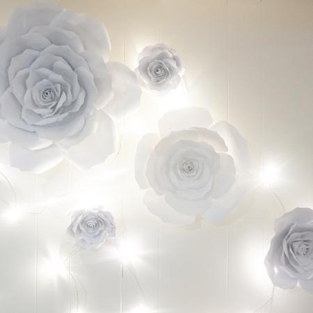 White Paper Roses, Giant Paper Flowers, White Paper Flower Decor