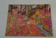 House Tree and Flowers Pastel