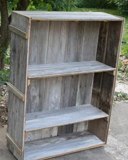 Unique Primtiques 4 Foot Primitive Bookcase Made From Reclaimed Early Century Farmhouse Barn Wood Flooring