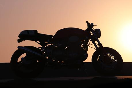 cafe racer motorcycle sunset california
