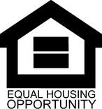 equal housing opportunity logo, black house with equal sign in the middle