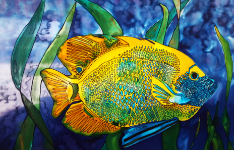 Tracy Harris silk Artist, Water Based Resist, With Silk Dyes, Limited Editions, Salt Water Angelfish, Tracy Harris