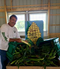 Hank Displaying His Fresh Picked Sweet Corn