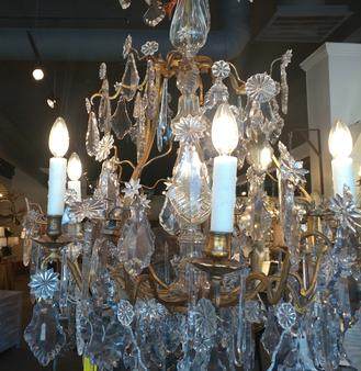 Crystal French Chandelier antique European metal beeswax candle covers and sleeves at the House of Tuscany's showroom in Fort Worth Texas