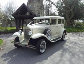 Vintage style Barnsdale Saloon wedding Car in White - Essex Wedding Cars